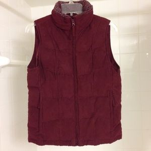 LL Bean Red Goose Down Zippered Vest Slim Small